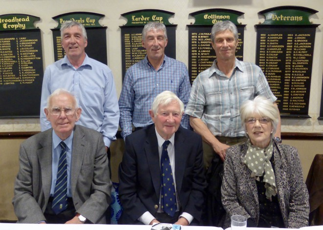 Back Row L to R Norman Yardley's Sons, twins  Ed  & Rob with Richard  Front Row Chairman Peter Mason with Author Martin Howe and Norman's daughter Susan April 2016